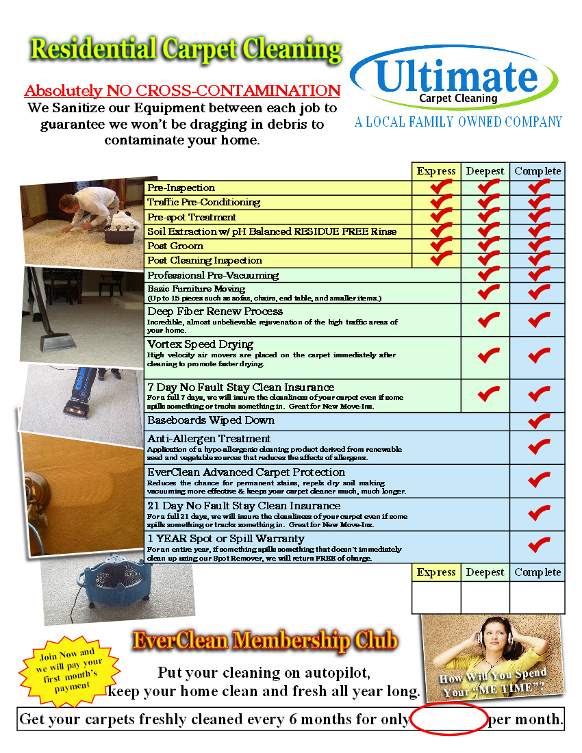 Carpet Cleaners Boise  carpet cleaning chart