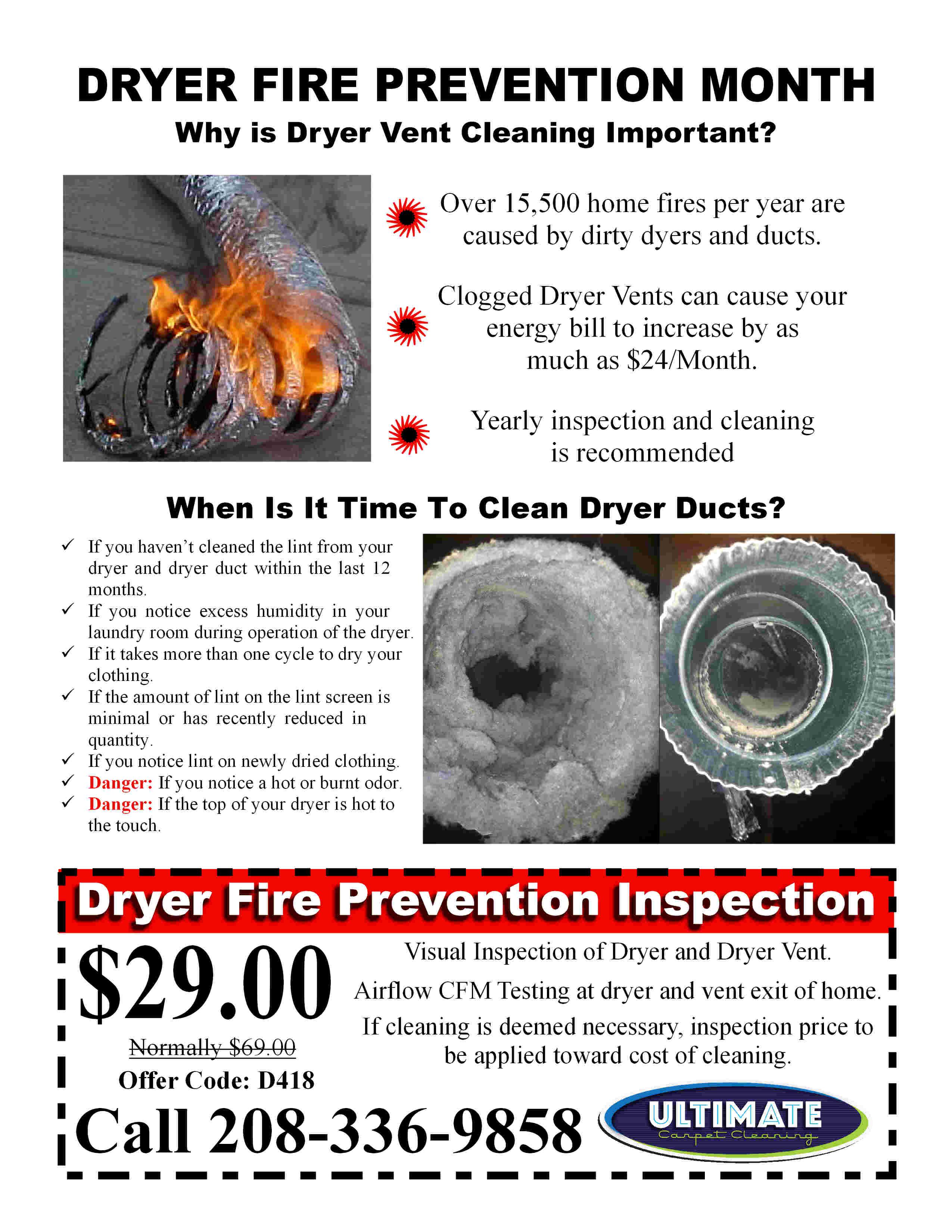 Dryer Vent Fire Prevention Flyer Ultimate Carpet